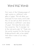 High Frequency Word Wall Words