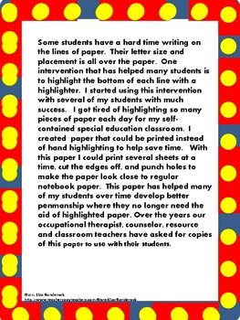 Highlighted Handwriting Paper
