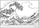 Hokusai. The Great Wave... Coloring page and lesson plan ideas