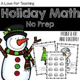 Holiday Math {No Prep}
