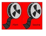Hollywood Movie Reel Theme Center labels