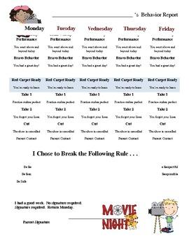 Hollywood themed daily behavior checklist
