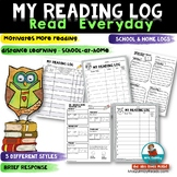 Home Reading Log With a Space for Brief Response to the Reading