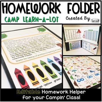 Homework Folder - Camping Theme {Camp Learn a Lot}