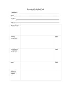 Homework Make-Up Work Form for Student