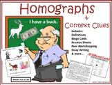 Homographs & Context Clues: Bingo, Visual Game, Writing, &