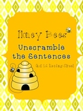 Honey Bees Unscramble the Sentences (1st Grade Reading Str