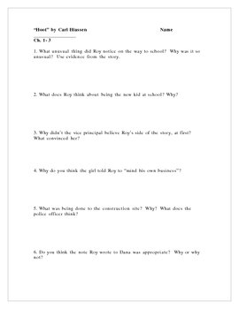 """""""Hoot"""" Comprehension Questions and Writing Activities"""