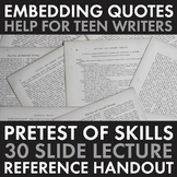 How to Embed Quotes, Quotations Writing Activity & Lecture
