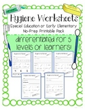 Hygiene Worksheets: Special Education No Prep Printable Pack