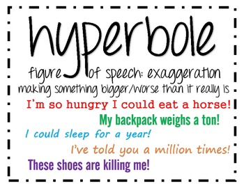 define hyperbole Definition of hyperbole: hyperbole is a figure of speech in which exaggeration is used for emphasis or effect an extravagant statement.