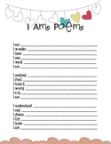 I Am Poem Worksheet with Colorful Hearts