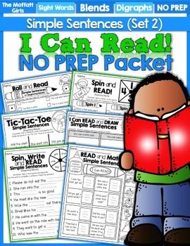 I Can Read Simple Sentences NO PREP (Set 2)