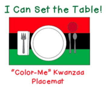 "I Can Set the Table: ""Color Me"" Kwanzaa Placemat"