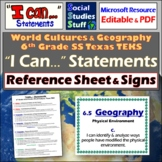 I Can Statements- 6th grade World Cultures- TEKS or Texas
