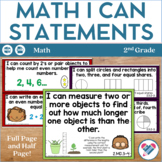I Can Statements for 2nd Grade! ALL Math Standards! CCSS!!