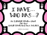 I Have Who Has: An Editable Review Game for any Grade Leve