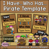 I Have, Who Has Card Template with Pirate Theme