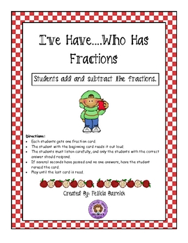 I Have Who Has Fractions