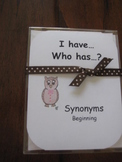 I Have, Who Has ready-made set! Synonyms--Beginning