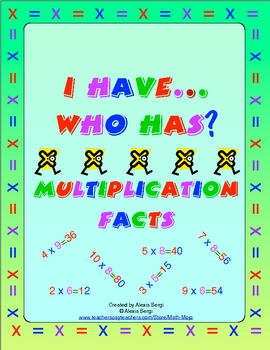 I Have...Who Has? Multiplication Facts