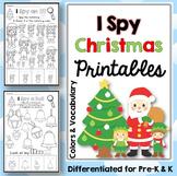 I Spy Christmas Printables: colors and vocabulary