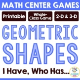 I am, Who Has - Geometric Shape Review Game (Flat and 3-D