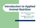 INTRODUCTION TO APPLIED ANIMAL NUTRITION