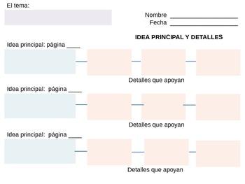 Idea Principal y Detalles - Main Idea & Details - Graphic