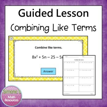 Expressions PPT Lesson 6.EE.2b and 6.EE.3 (Combining Like Terms)
