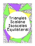 Identifying Triangles Scalene Isosceles Equilateral Colori