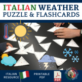 Il Tempo - Weather in Italian Practice Puzzle and Flash Cards