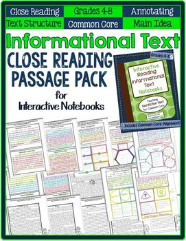 Informational Text CLOSE READING Passage Pack for Interactive Notebooks 4-8