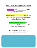 Informational Text Main Ideas and Supporting Details Notebook