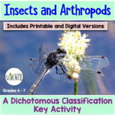 Insects and Arthropods Dichotomous Key Activity (Classific
