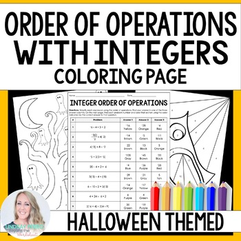 Integer Order of Operations Coloring Page {Halloween}