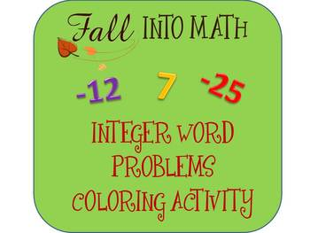 Integer Word Problems (Adding & Subtracting) Color Sheet ~