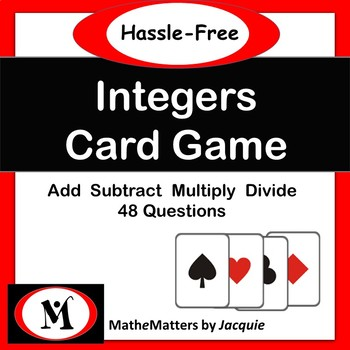 Integers Free - Add, Subtract, Multiply, Divide 48 Questions  Common Core {TGT}