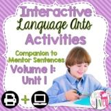 Interactive Language Arts Notebook for FIRST Mentor Senten