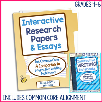 Interactive Research Papers & Essays for Common Core Writing Grades 3-8