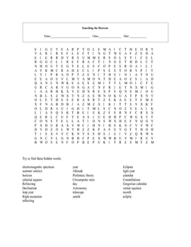 Astronomy Word Search Printable (page 4) - Pics about space