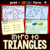 Triangle Task Cards: Introduction to Triangles
