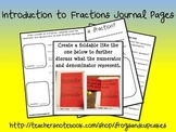 Introduction to Fractions Journal Pages