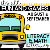 It's All Fun & Games Back to School Math & Literacy Activi