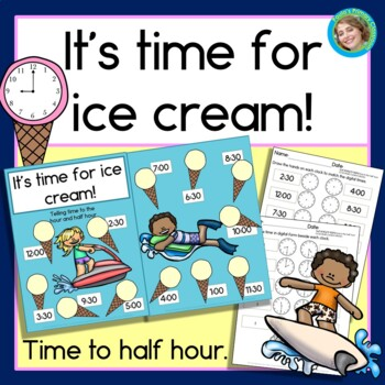 Super fun folder games for telling time - with an ice cream and ocean theme!  My kiddos will LOVE this!