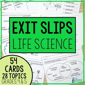 I've Got It! Life Science Exit Slips