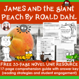 FREE James and the Giant Peach Novel Unit Activity Guide