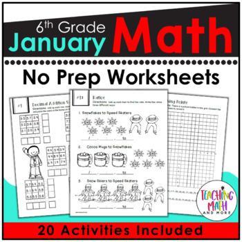January NO PREP Math Packet - 6th Grade