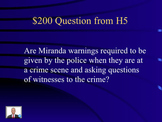 Jeopardy Law Game MIRANDA Constitutional Warnings, Bill of Rights