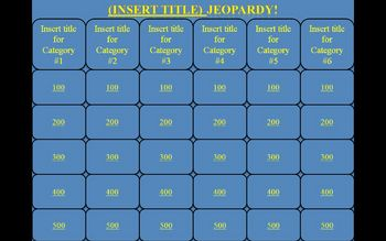 Jeopardy PowerPoint Template - Blank for teacher use
